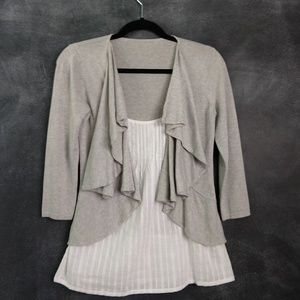 Sweaters - Cardigan Sweater with Faux Blouse